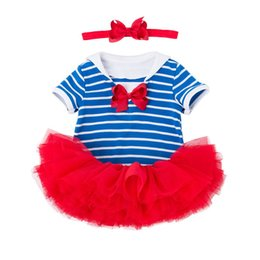 $enCountryForm.capitalKeyWord UK - Baby Girls 3pcs July 4th Outfits striped blue white romper & Tutu Skirt With Headband Summer Little Girl Boutique Outfits