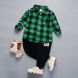 Cute Outfits For Spring Australia - good quality Spring Autumn Boys Clothing Sets Children Casual Plaid Clothes Suit Kids Boys Tracksuit For Baby Outfits Clothing