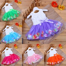 Wholesale babies clothes Princess girls flower dress D rose flower baby girl tutu dress with colorful petal lace dress Bubble Skirt baby clothes