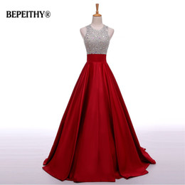 Images White Evening Dresses Australia - Real Image A Line Long Evening Dress Beadings Crystal Bodice Open Back Party Elegant 2019 Vestido De Festa New Prom Gowns Y19051401