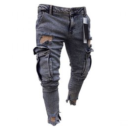 ec1f6be58a37f1 2019 Hole Embroidered Jeans Slim Men Trousers New Casual Thin Summer Denim  Pants Classic Cowboys Young Man Black Blue