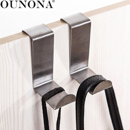$enCountryForm.capitalKeyWord NZ - OUNONA 10pcs Wall Door Hooks Kitchen Cabinet Clothes Hanger for Clothes Towel Scarf Hat Stainless Steel Over the Door Hook