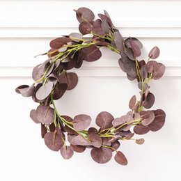Fake Vine Foliage Australia - Eucalyptus Artificial Ivy Leaf Garland Home Decor Wedding Decoration Diy Plants Plastic Vine Fake Foliage Flower Handmade 200cm