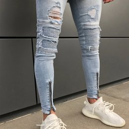 $enCountryForm.capitalKeyWord Australia - Laamei 2018 Male Pleated Motorcycle Biker Jean Strech For Man Ripped Jeans For Men Streetwear Hip Hop Skinny Jeans Men Clothes