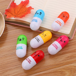 $enCountryForm.capitalKeyWord Australia - Cute capsule pill ballpoint pen student stationery cartoon expression retractable pen student gift office writing utensils