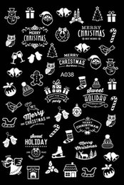 black white art trees 2019 - Wholesale NEWEST 20 Sheets merry christmas Nail Art Stickers Black white gold tree Hats snow bell series Nail Decals DIY