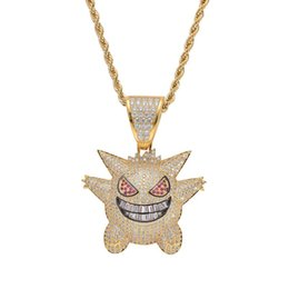Bling Chains UK - Full Rhinestone Gengar Pendant Necklace Creative Hip Hop Bling Bling Ice Out Jewelry With Free 24 Inch Chain For Men Gift