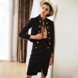 cea754c7fbf5 Women Skirt Suits Elegant Office Lady Vintage Double Breasted Blazer Coat  Retro Casual Formal Work Two Piece Set Female Uniform