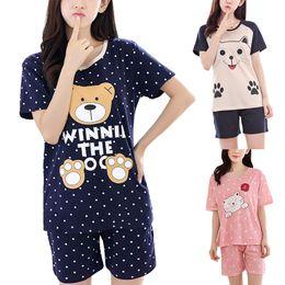 Discount cute summer pajamas - 2 Ladies Cartoon Cute Shirt + Short Pajamas Suit Short Sleeve Summer Casual Comfortable Soft Pajamas Set