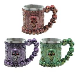 skull bar glasses Australia - Skull Skeleton Cups Colorful 3D Skull Mug Stainless Steel Mugs Party Creative Drinking Glass Halloween Bar Cocktail Cup GGA2412