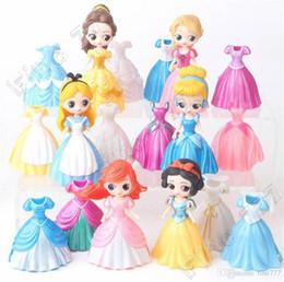 Figures Dolls Australia - Mini 6 style princess 18 pieces of clothes can change clothes toy Snow White Mermaid Cinderella doll PVC Action Figures toys lol
