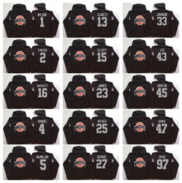 Wholesale Ohio State Buckeyes Men Jerseys Elliott Bosa C JONES BARRETT B Miller Black Hoodie Hooded Sweatshirt Jackets Jersey