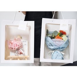 christmas gift boxes wholesale Australia - 5pcs Set Flower Paper Gift bag with handle Wedding favor Portable Gift paper Box window bag Christmas wedding Party Favors
