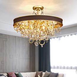 Rustic pendant lamp online shopping - New design high class crystal chandelier lighting gold creative leather chandeliers light pendant lamps for living room bedroom