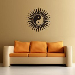 Wholesale buddha glasses for sale – custom Yin Yang Buddha Wall Decals Zen Meditation Wall Sticker For Bedroom Living Room Sun Lotus Art Mural Removable Home Decor H067