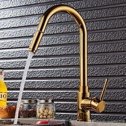 Kitchen Tap Pull Out Swivel Australia - Luxury Gold Kitchen Faucet Single Handle Pull Out Kitchen Tap Sprayer Swivel 360 Degree Brass Sink Faucet Mixer