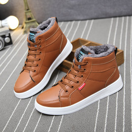 full leather shoes for men 2019 - Men Boots Men Winter Boots Botas Hombre Fur Lace Up Warm Snow Boots for Men 2019 Fashion Winter Black Blue Yellow Shoes
