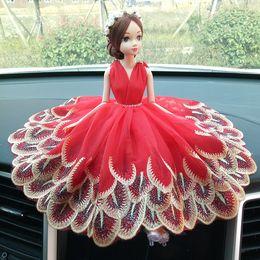Handmade wedding dolls online shopping - Creative car decoration wedding doll wedding handmade wedding lace doll decoration decoration toy fake flower wreath
