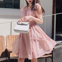 $enCountryForm.capitalKeyWord NZ - Dabuwawa Women Elegant Pink Chiffon Dress 2019 New Summer Romantic Ruffled Swing Hem Short Date Dress D18BDR135
