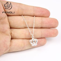 $enCountryForm.capitalKeyWord Australia - FENGLI New Fashion Simple 3D Crown Pendants&Necklaces Charm Chain Choker for Women Office Classroom Jewelry Gift