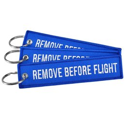 Car remove online shopping - Remove Before Flight Key Chain Trendy Keyring Embroidery Polyester Fabric Key Protector Commemorative Keychain Buckle RRA413