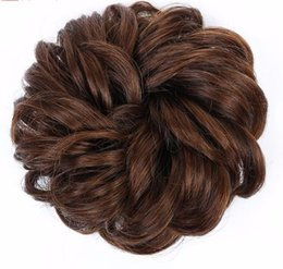 clip hair hairpieces UK - 2019 Curly Chignon Hair Clip In Hairpiece Extensions Black Brown Red Synthetic High Temperature Fiber Chignon