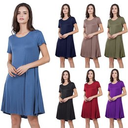 Plus Size Dresses For Teens Australia - Plus Size Women's Long Summer Fashion Solid Colour Cotton Pocket T Shirt Dresses for Girls 14 Teen to 60 Camisole Skirt