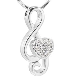 $enCountryForm.capitalKeyWord UK - IJD11531 Crystal Heart Music Note Cremation Necklace For Ashes For Women Keepsake Memorial Urn Jewelry In Stainless Steel