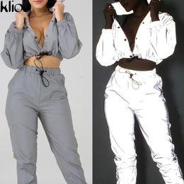 $enCountryForm.capitalKeyWord Australia - Weirdgirl new Reflective cost women fashion full sleeve jackets Autumn turn-down collar button outfit female street casual tops