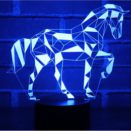 3D LED Night Light Jigsaw Horse Puzzle with 7 Colors Light for Home  Decoration Lamp Amazing Visualization Optical Illusion b85934b663cc