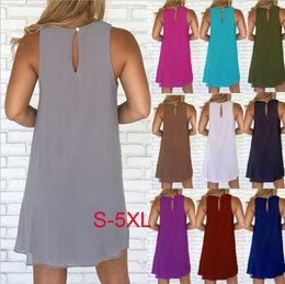 Hot Sexy White Dresses Australia - Sexy women chiffon skirts summer hot sell sleeveless round neck plus size chiffon solid colour dresses