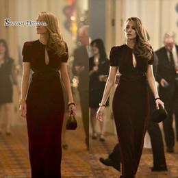 Black velvet evening dress prom online shopping - 2020 Sheath Sexy Short Sleeve Keyhole Neck Long Formal Dresses Vestidos De Novia Party Evening Gowns