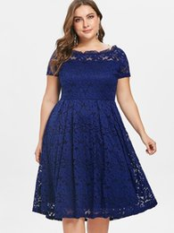 fall off shoulder shirts UK - Wipalo Plus Size Top Panel Off Shoulder One Line Dress Fall Women Vintage Solid Blue Party Dress Femme Vestidos 5xl Y19071101