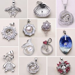 Wholesale 12 Styles New Pearl Necklace Settings 925 Sliver Pendant Settings DIY Pearl Necklace Women Fashion Jewelry with Chain Wedding Gift