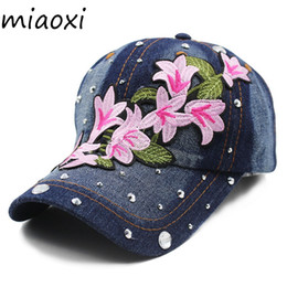 miaoxi Women New Hat Summer Floral Girl Baseball Caps For Female Adult  Cotton Cap Fashion High Quality Denim Jeans Bonnet Sale  220223 a3763b6d7969