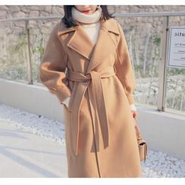 Elegant Sash Belt Australia - Plus Size Warm Wool Blends Long Winter Coat Belted Turn-Down Collar Adjustable Belt Solid Coats Women Office Work Wear Elegant