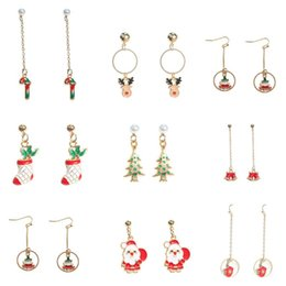 wholesale christmas gift ideas 2019 - Christmas gifts new ideas long drip drip earrings simple small reindeer socks crutches earrings women fashion accessorie