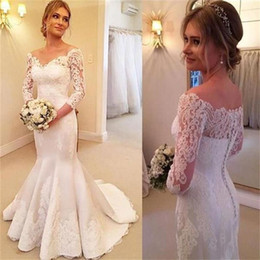 $enCountryForm.capitalKeyWord NZ - V-neck Long Sleeve Mermaid Wedding Dresses 2019 Modest Vintage Lace Stain Covered Buttons Trumpet Garden Princess Church Wedding Gown