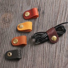 Chinese  1PC 8*2cm Headset Earphone Wire Portable USB Cable Cord Leather Winder Headphone Case Home School Desk Manager Wire Organizer manufacturers