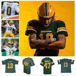 2020 Edmonton Esquimós # 13 # 0 Mike Reilly Verde Branco Costurado Qualquer Nome Número 7 Kenny Stafford Homens Juventude Kid personalizado Camisa De Futebol venda por atacado