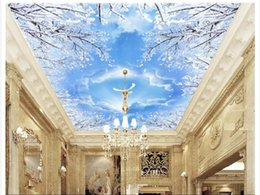 dive housing Australia - 3D custom zenith mural wallpaper photo interior decoration Fresh snowflake blue sky white clouds dove living room zenith ceiling background