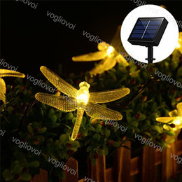 dragonfly garden lights NZ - Solar Garden Lights Led String PVC Dragonfly 20 50 100LEDs Warm White Waterproof For Christmas Wedding Party Garden DHL