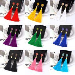 Rose Rhinestone eaRRings online shopping - Boho Crystal Long Tassel Drop Earrings For women Ethnic Geometric Rose flower Sign Dangle Statement Earring Fashion Jewelry in Bulk