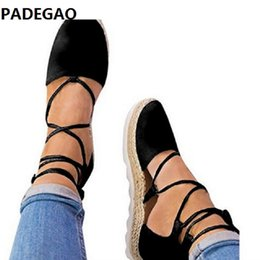 $enCountryForm.capitalKeyWord Australia - Hot style spring 2019 black, pink and grey cross strap flats with thick rope soles for women casual sandals