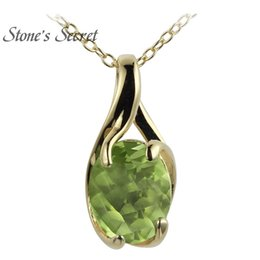 Peridot Pendant necklace yellow gold online shopping - 2 ct Oval Manchurian Peridot k Yellow Gold Over Silver Pendant With Chain Y19052301