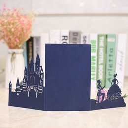 castle wedding invitation cards UK - free drop shipping 1pcs Burgundy hollow Laser Cut Tri-fold White Castle couple pocket fold Wedding Invitation Card pocket Invite