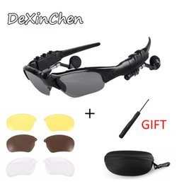 sunglasses headphones Australia - Motorcycle Bluetooth Sunglasses FOUR colors lenses riding bike bluetooth music and wireless call headphone glasses free shipping
