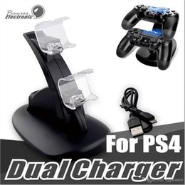 Playstation Wireless Controller Charge Australia - Dual chargers for ps4 xbox one wireless controller 2 usb LED Station charging dock mount stand holder for PS4 gamepad playstation with box