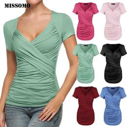 $enCountryForm.capitalKeyWord Australia - MISSOMO women t shirts 3xl tee shirt femme 2019 Summer Women T-shirt Sexy Cross Low Cut Front Knot Casual Silm Top T-Shirt