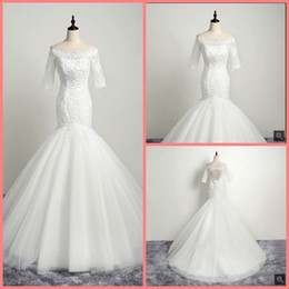 Hot Sexy White Dresses Australia - Real picture white lace appliques mermaid wedding dress half sleeve hollow back sexy corset elegant wedding gowns hot sale bride dresses
